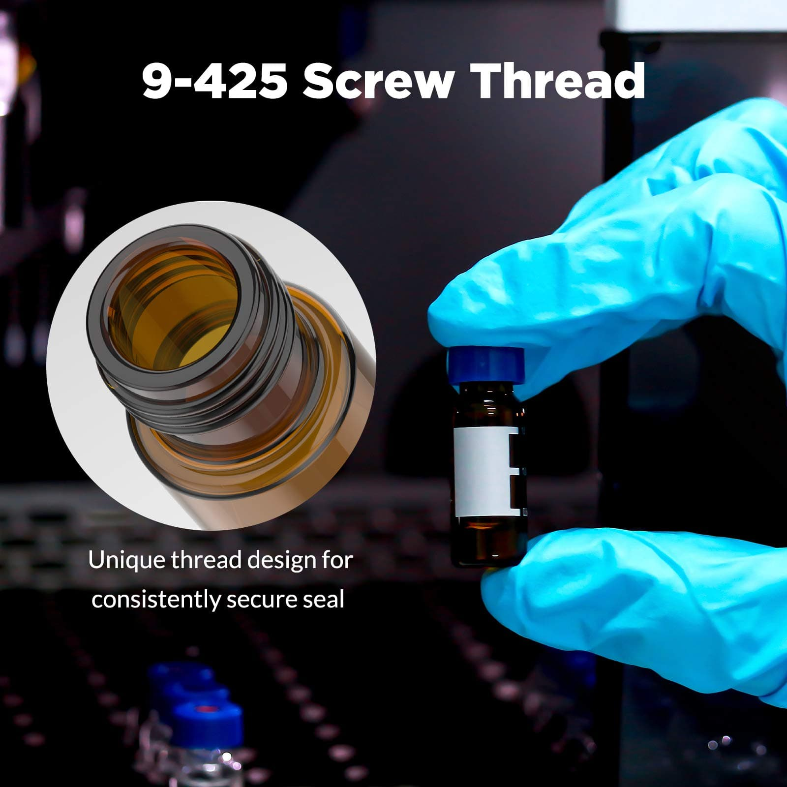 9-425 amber hplc vials with screw thread