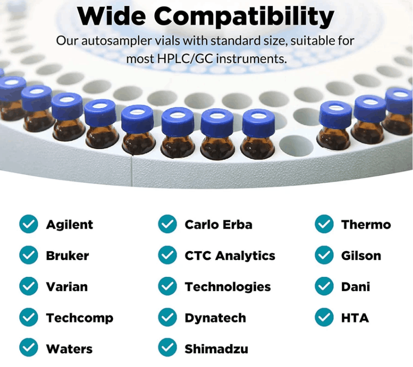 autosampler vials with standard size for most HPLC and GC instrument