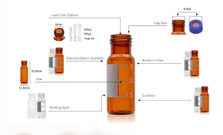 Aijiren 2ml 9mm amber screw top vials